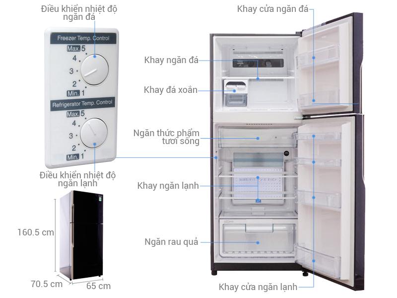 Tủ lạnh Hitachi 335 lít R-VG400PGV3 GBK