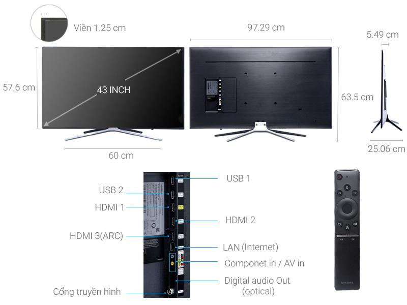 Thông số kỹ thuật Smart Tivi Samsung 43 inch UA43M5500