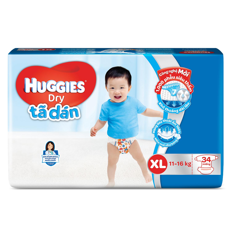Bỉm - Tã dán Huggies size XL 62 miếng (cho bé 11 - 16kg)