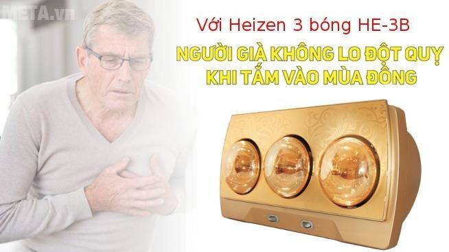 Đèn sưởi nhà tắm Heizen 3 bóng HE-3B (Gold)