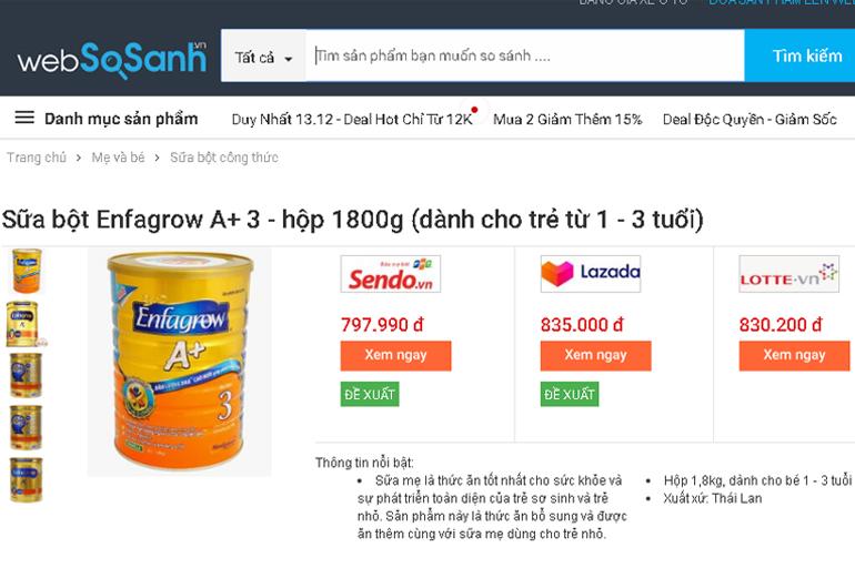 Giá sữa Enfa A+ bao nhiêu tiền?