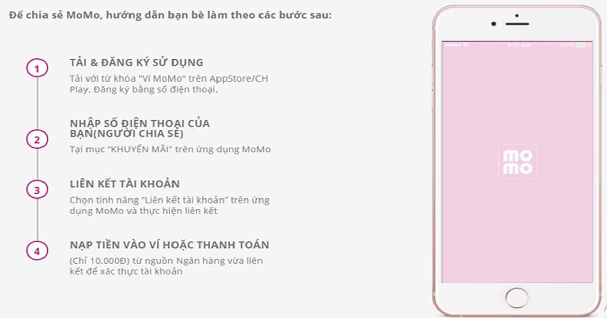 Hướng dẫn cách thực hiện chia sẻ Momo để nhận về ví thanh toán 100k