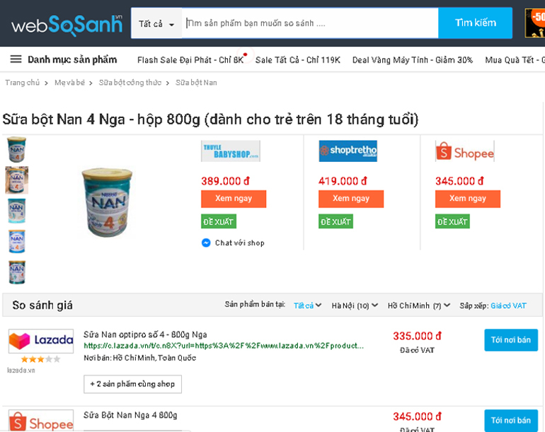 Giá sữa Nan Nga bao nhiêu tiền?