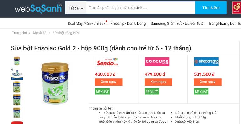 Giá sữaFrisolac bao nhiêu tiền?