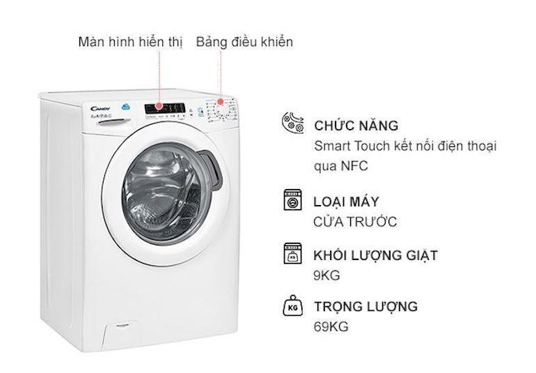 Máy giặt Candy 9kg HCS 1292D3Q/1-S