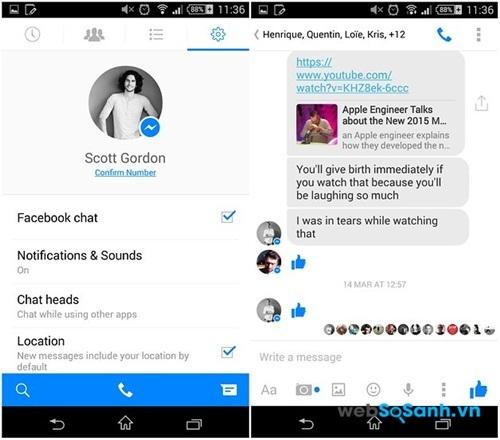 Giao diện ứng dụng Messenger