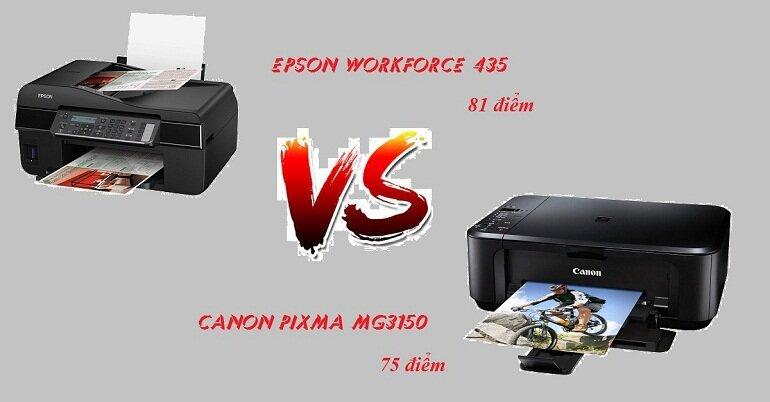 Điểm đánh giá của máy in Epson WorkForce 435 và máy in Canon Pixma MG3150