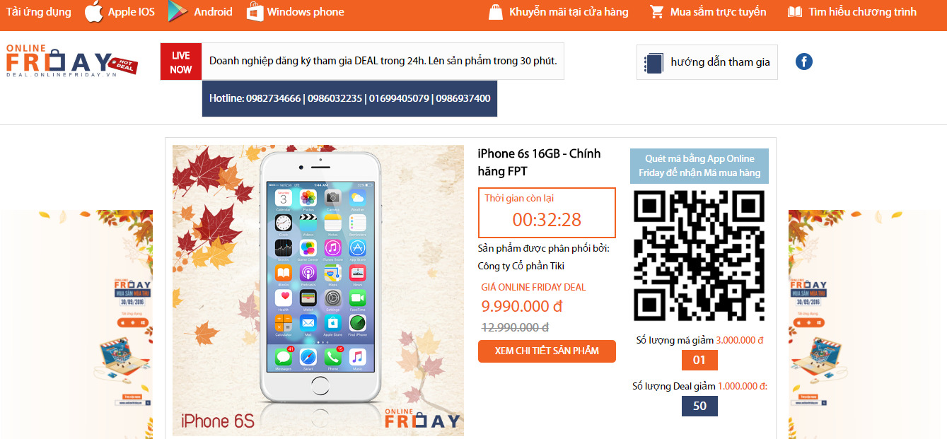 iPhone 6S giảm giá sốc trong Online Friday