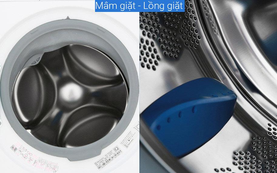 Lồng máy giặt bằng thép không gỉ nên rất chắc chắn và an toàn với áo quần