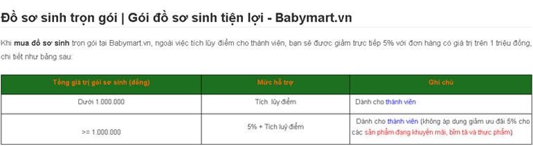 Khi mua đồ sơ sinh và đi sinh trọn gói tại Babymart.vn bạn được lợi ích gì ?