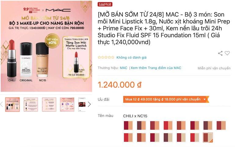 Bộ 3 món: Son môi Mini Lipstick 1.8g, Nước xịt khoáng Mini Prep + Prime Face Fix + 30ml, Kem nền lâu trôi 24h Studio Fix Fluid SPF 15 Foundation 15ml