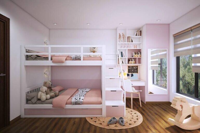 Giường tầng cho phòng ngủ bé gái dễ thương