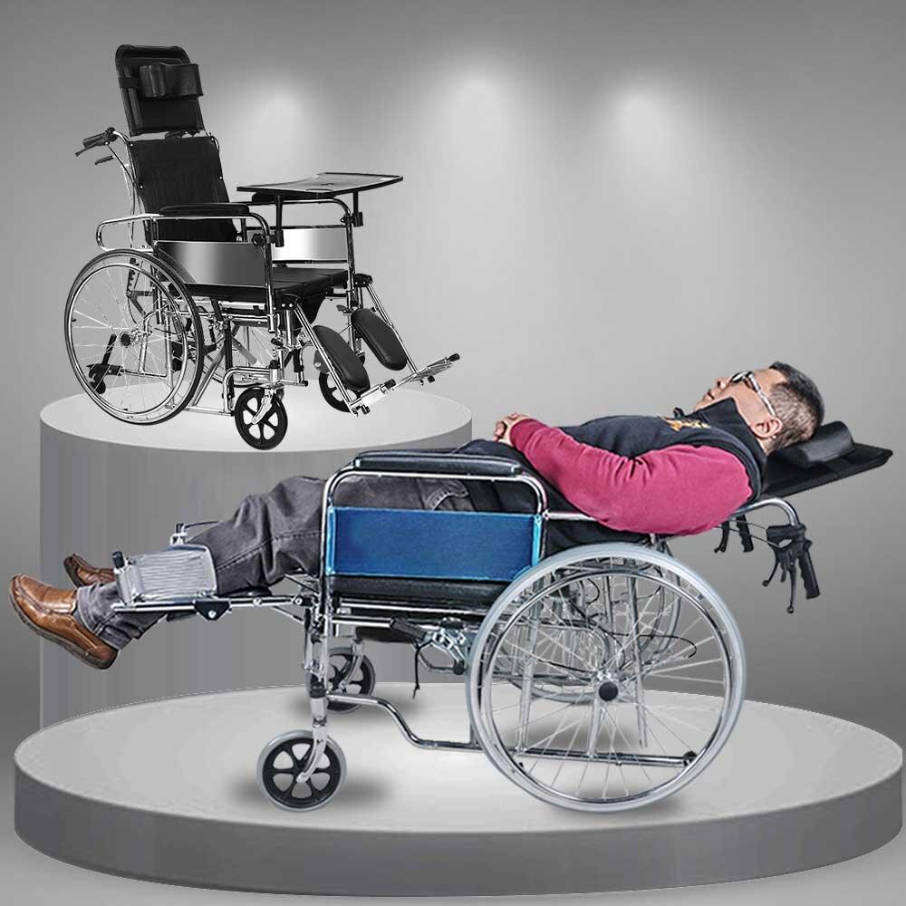 Xe lăn đa chức năng có thể biến thành giường nằm nghỉ ngơi vô cùng tiện nghi