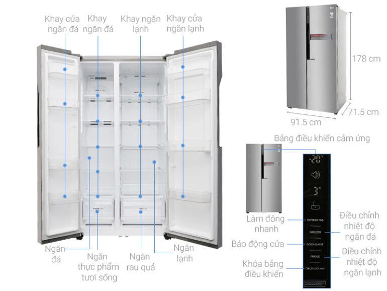 Tủ lạnh Side by Side LG Inverter 613 lít GR-B247JDS giá giảm 24% chỉ còn 15.540.000 vnđ/ chiếc