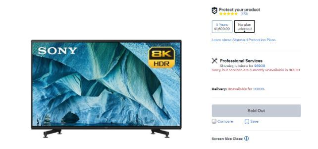 """Theo trang giới thiệu sản phẩm của hệ thống bán lẻ Best Buy ở Mỹ, TV 8K của Sony đang nhận được phản ứng tốt từ thị trường. Hiện mẫu 85 inch MASTER Z9G độ phân giải 8K đã treo """"Sold Out"""" – """"hết hàng"""" – và không thể mua được nữa. Một đại diện Sony không tiết lộ doanh số nhưng cho biết nhu cầu vượt quá mong đợi ban đầu. Đây là sản phẩm thuộc phân khúc siêu cao cấp, giá quy đổi tiền Việt là hơn 300 triệu đồng."""