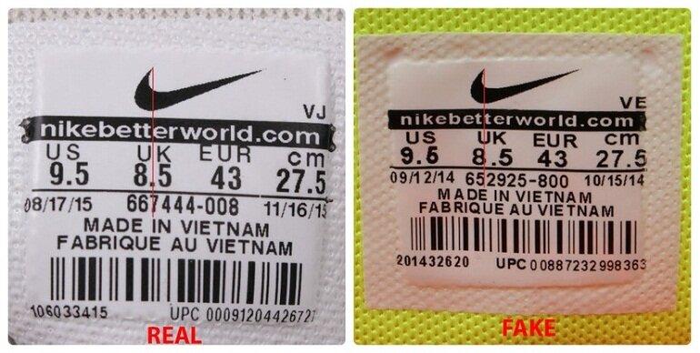 Nhận biết giày đá bóng Nike qua đường thẳng tỷ lệ trên tem giày