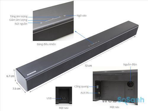 Kích thước loa Samsung HW-J250/XV