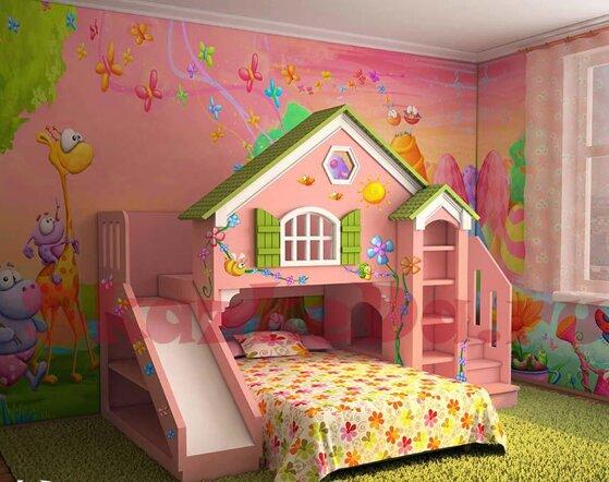 15 mẫu giường ngủ cho bé gái họa tiết dễ thương kiểu dáng tiện ích