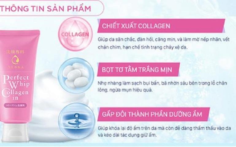 Sữa Rửa Mặt Ẩm Mịn Và Săn Chắc Da Senka Perfect Whip Collagen In