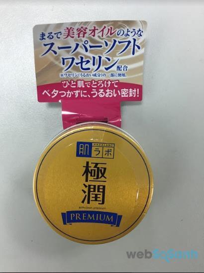 Review sáp thạch dưỡng ẩm tối ưu Hada Labo Gokujyun Premium Balm 25g chi tiết mặt trước