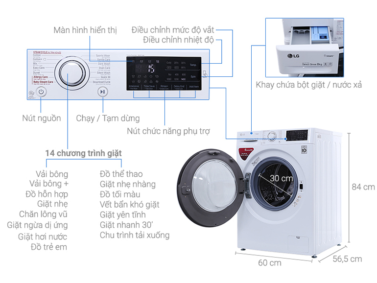 Máy giặt LG FC1408S4W2 lồng ngang 8kg