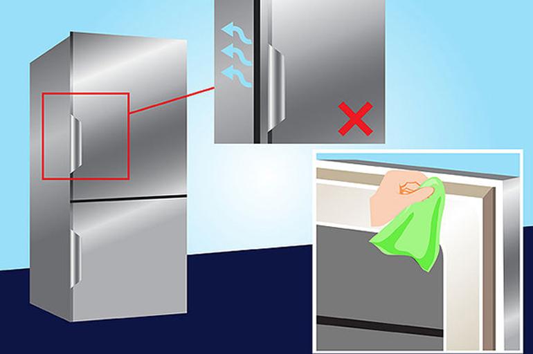 Kiểm tra cửa tủ lạnh xem có khít không?