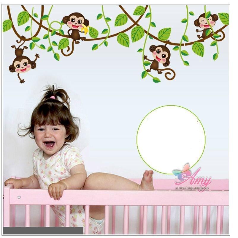 Những chú khỉ tinh nghịch mang đến sự sống động cho căn phòng của bé