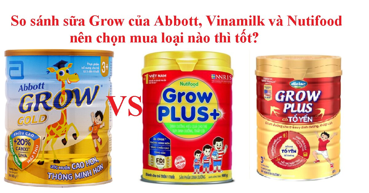 So sánh sữa Grow của Abbott, Vinamilk và Nutifood chi tiết