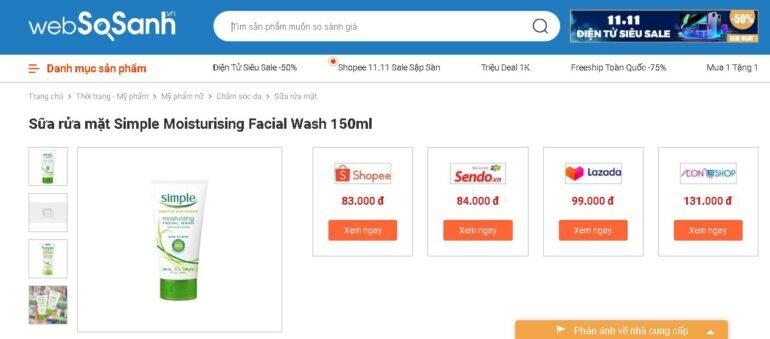 Sữa rửa mặt cho da khô Simple Moisturising Facial Wash 150ml - Giá rẻ nhất: 83.000 vnđ