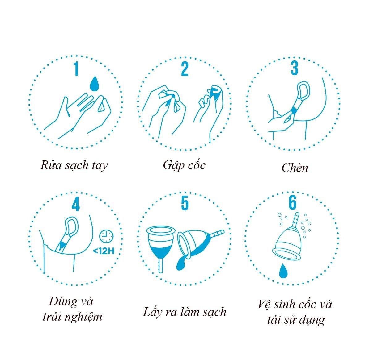 Chỉ cần một số thao tác đơn giản, bạn đã có thể sử dụng cốc nguyệt san Lincup an toàn trong những ngày đèn đỏ của mình
