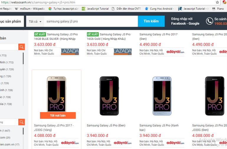 Mua điện thoại Samsung Galaxy j3 Pro ở đâu rẻ hơn?