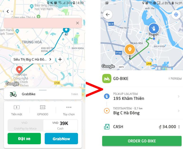 So sánh giá cước dịch vụ xe ôm của Grab và Go-Viet : đi bên nào rẻ hơn ?