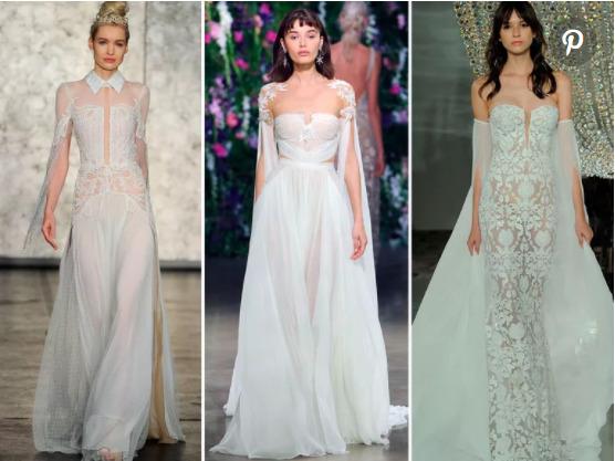 Váy cưới với phần tay áo được xẻ đôi