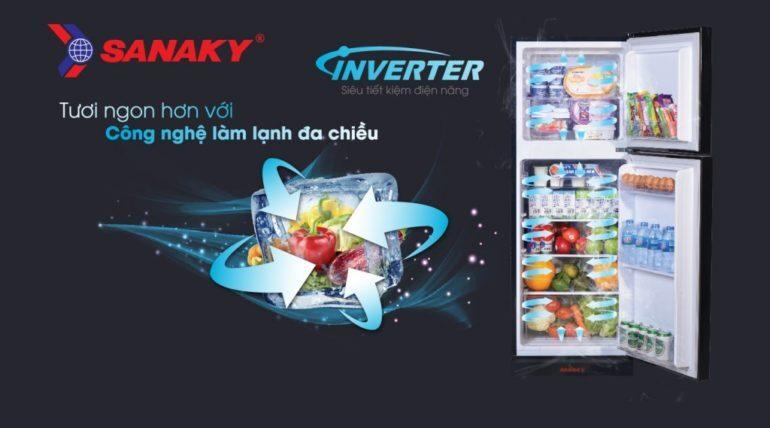 tủ lạnh thế hệ mới của Sanaky sử dụng công nghệ làm lạnh đa chiều