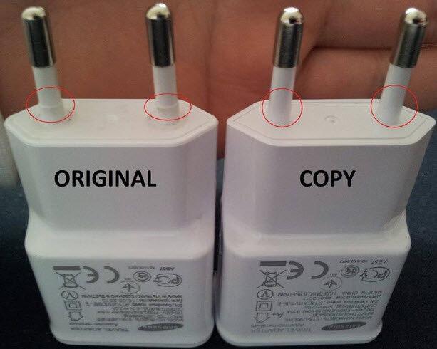 3 dấu hiệu phân biệt sạc pin điện thoại Samsung chính hãng và hàng fake