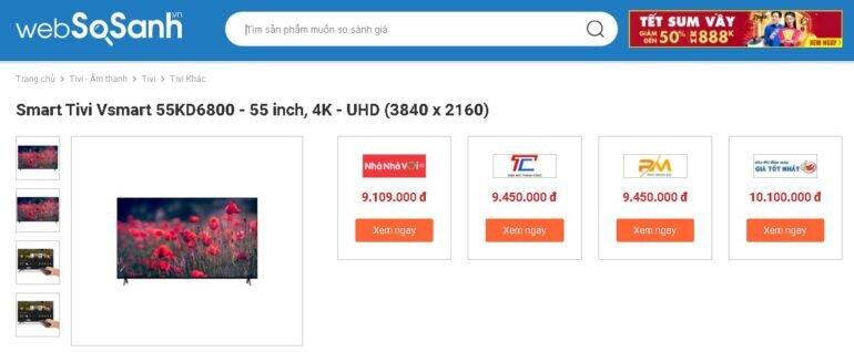 Giá Smart Tivi Vsmart 55KD6800