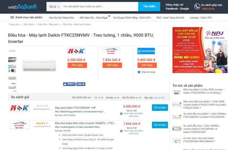 Giá điều hòa đaikin 9000 1 chiềuFTKC25NVMV rẻ nhất là 6.000.000 VNĐ