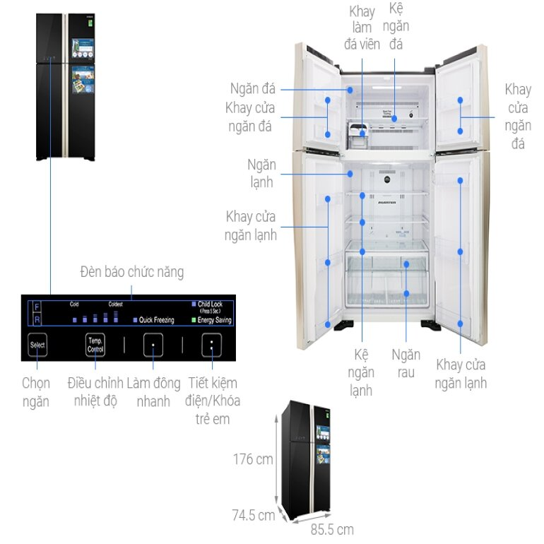 Tủ lạnh Hitachi Inverter 509 lít R-FW650PGV8 GBK