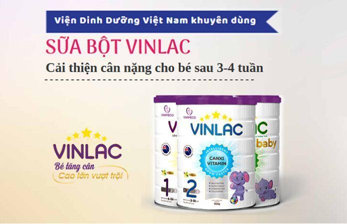 Vinlac Baby - sữa được Viện dinh dưỡng khuyên dùng cho các bé đang trong tình trạng thấp còi, chậm lớn.