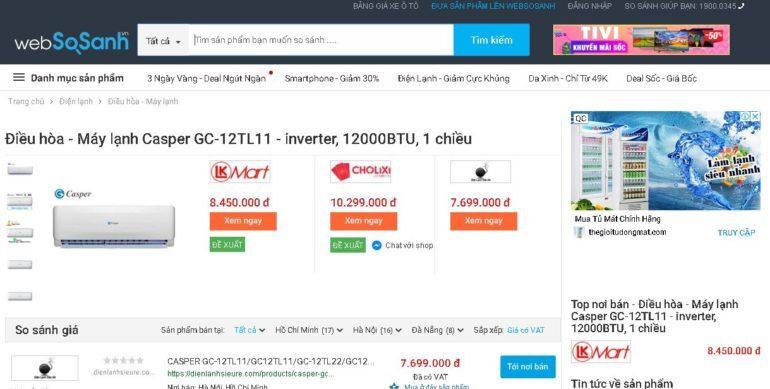 Nơi bán điều hòa máy lạnh Casper GC-12TL11 - inverter, 12000BTU, 1 chiều giá rẻ nhất