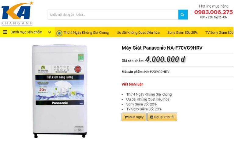 Máy giặt lồng đứng Panasonic NA-F80VG9HRV