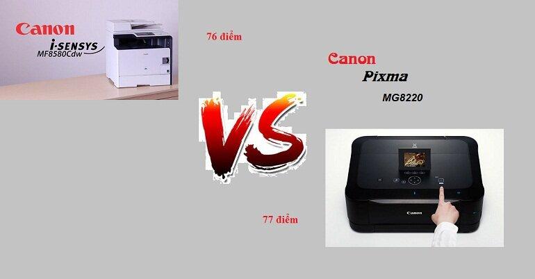 Điểm đánh giá của máy in Canon Color imageClass MF8580Cdw và máy in Canon Pixma MG8220