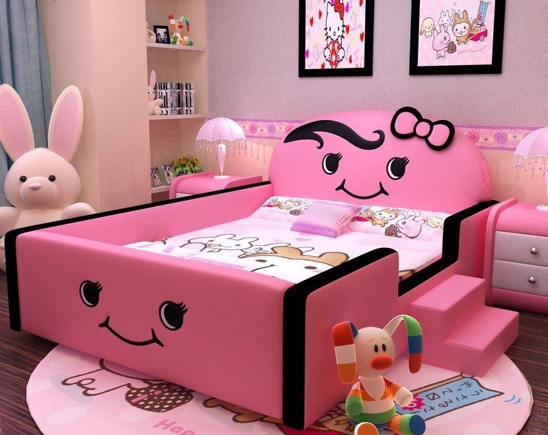 Giường ngủ hình mặt cười cực thích hợp cho những bé gái yêu thích sự dễ thương với gam màu hồng