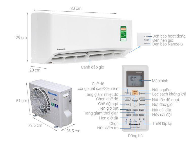 Điều hòaPanasonic Inverter 1 HP CU/CS-PU9UKH-8 - Giá tham khảo: 8.200.000 vnđ - 11.000.000 vnđ
