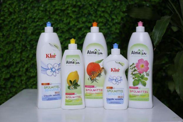 Nước rửa chén hữu cơ Almawin và nước giặt đậm đặc hữu cơ Almawin