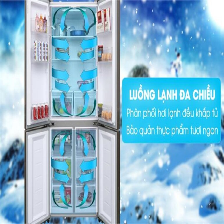 Tủ lạnh 4 cửa 511L AQUA AQR-IGW525EM (GP) Inverter với công nghệ làm lạnh đa chiều
