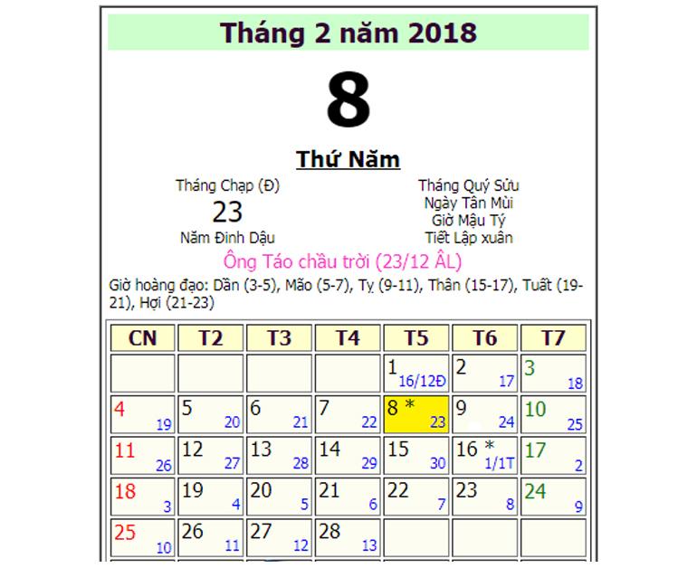 Ông Công ông Táo 2018 là ngày bao nhiêu ? Cúng ông Công ông Táo ngày nào tốt ?