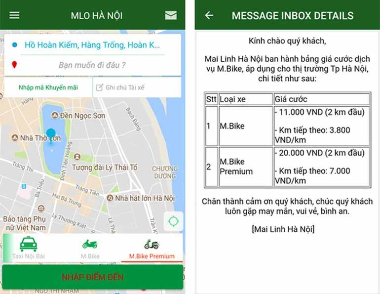 Ứng dụng xe ôm giá rẻ Mai Linh Bike
