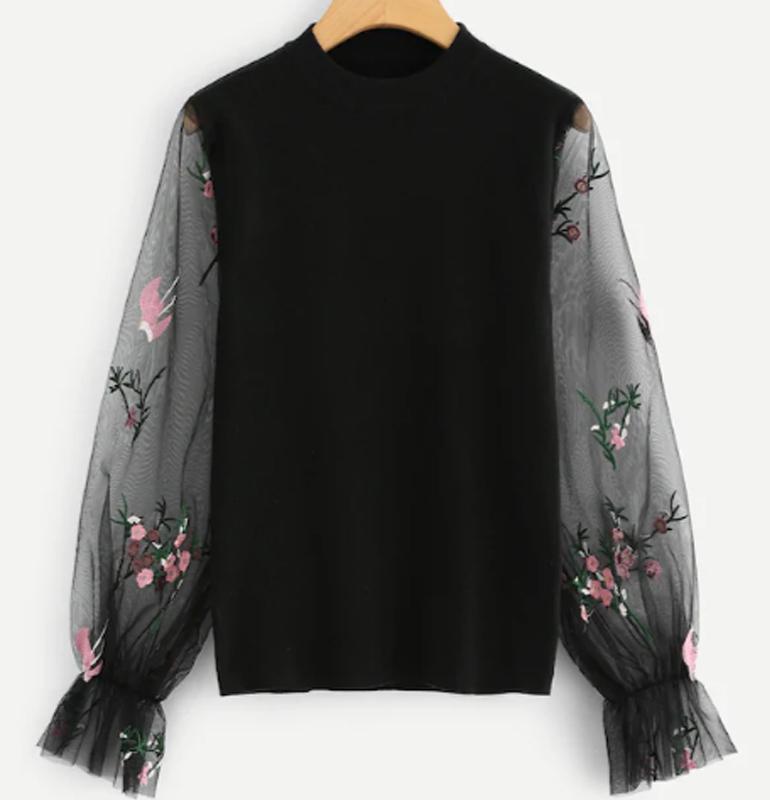 Áo len hoa tương phản