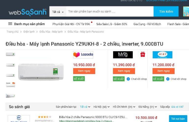 Điều hòa - Máy lạnh 2 chiều Panasonic Inverter 1 HP CU/CS-YZ9UKH-8 - Giá tham khảo: 10.500.000 vnđ
